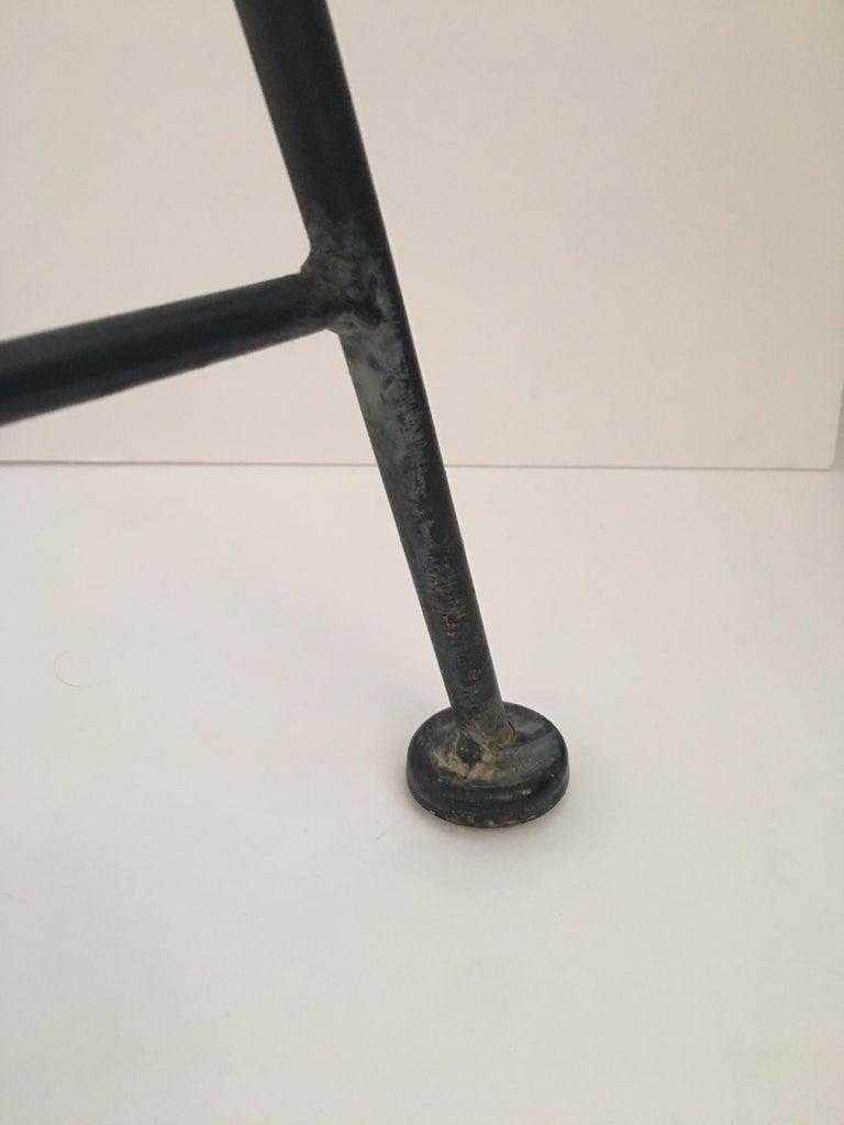 Sleek Mid-Century Modern Iron and Striped Salterini Style Chairs, Italian  For Sale 4