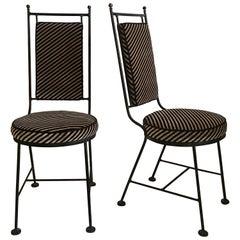 Sleek Mid-Century Modern Iron and Striped Salterini Style Chairs, Italian