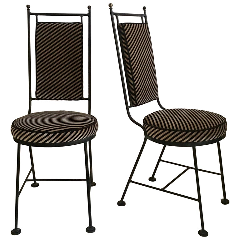 Sleek Mid-Century Modern Iron and Striped Salterini Style Chairs, Italian  For Sale