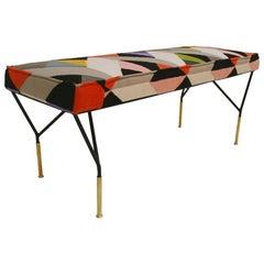 Mid-Century Modern Italian Iron Structure Upholstered Pattern Fabric Footstool