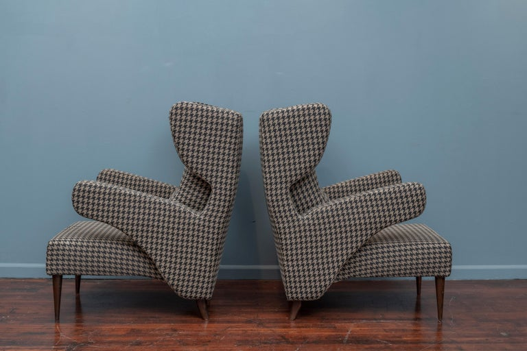 Upholstery Mid-Century Modern Italian Large Lounge Chairs For Sale