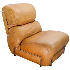 Mid-Century Modern Italian Leather Lounge Chair by Gianfranco Frattini, 1970s