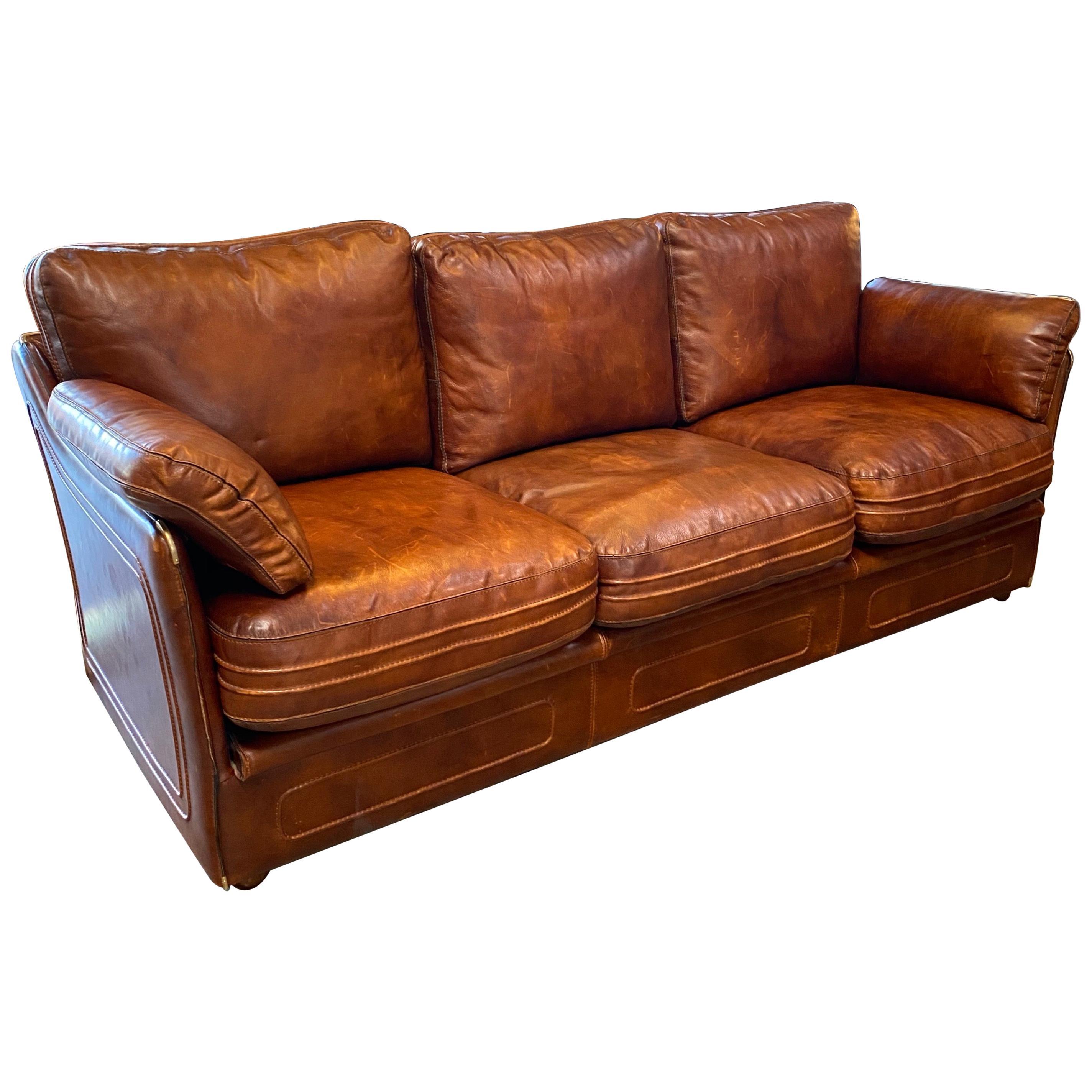 Mid-Century Modern Italian Leather Sofa, 1960s