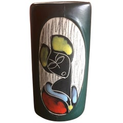 Mid-Century Modern Italian Leather Wrapped Ceramic Vase in the Style of Fantoni