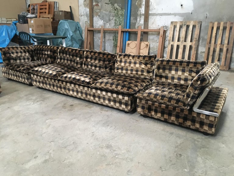 Late 20th Century Mid-Century Modern Italian Living Room Set, Three-Seat Sofa and Four, Armchairs For Sale