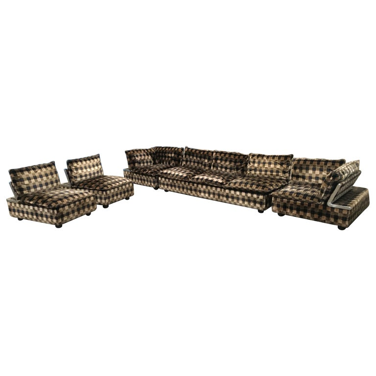 Mid-Century Modern Italian Living Room Set, Three-Seat Sofa and Four, Armchairs For Sale