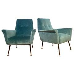Mid-Century Modern Italian Lounge Chairs, a Pair