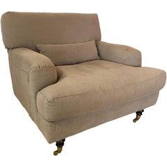 Mid-Century Modern Italian Lounge Textile Armchair in the Style of De Padova