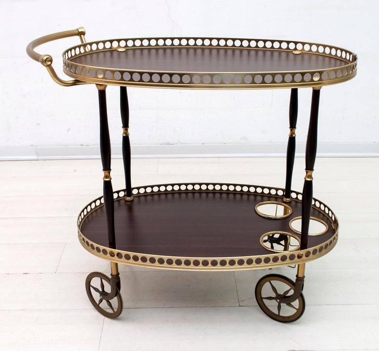 Mid-Century Modern Italian Mahogany and Brass Bar Cart, 1950s In Good Condition For Sale In Cerignola, Italy Puglia