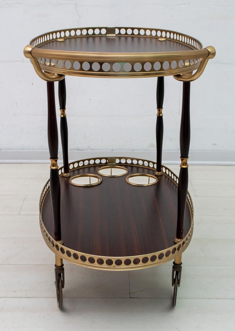 Mid-Century Modern Italian Mahogany and Brass Bar Cart, 1950s For Sale 1