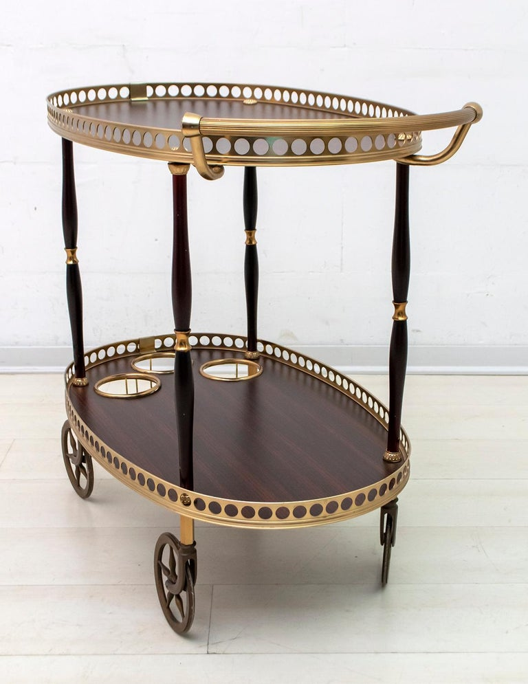 Mid-Century Modern Italian Mahogany and Brass Bar Cart, 1950s For Sale 2