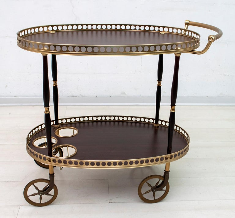 Mid-Century Modern Italian Mahogany and Brass Bar Cart, 1950s For Sale 3