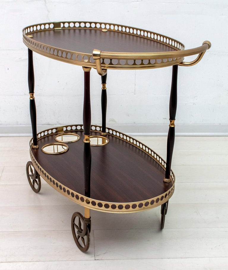 Mid-Century Modern Italian Mahogany and Brass Bar Cart, 1950s For Sale 4