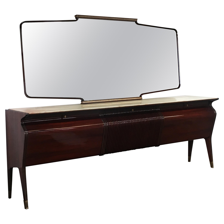 Mid-Century Modern Italian Mahogany Sideboard with Mirror by Osvaldo Borsani
