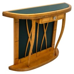 Mid-Century Modern Italian Maple and Green Glass Console, 1950