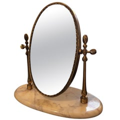 Mid-Century Modern Italian Marble and Brass Table Mirror, circa 1950