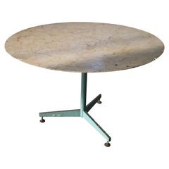 Mid-Century Modern Italian Marble Table with Lacquered Iron Base, 1960s