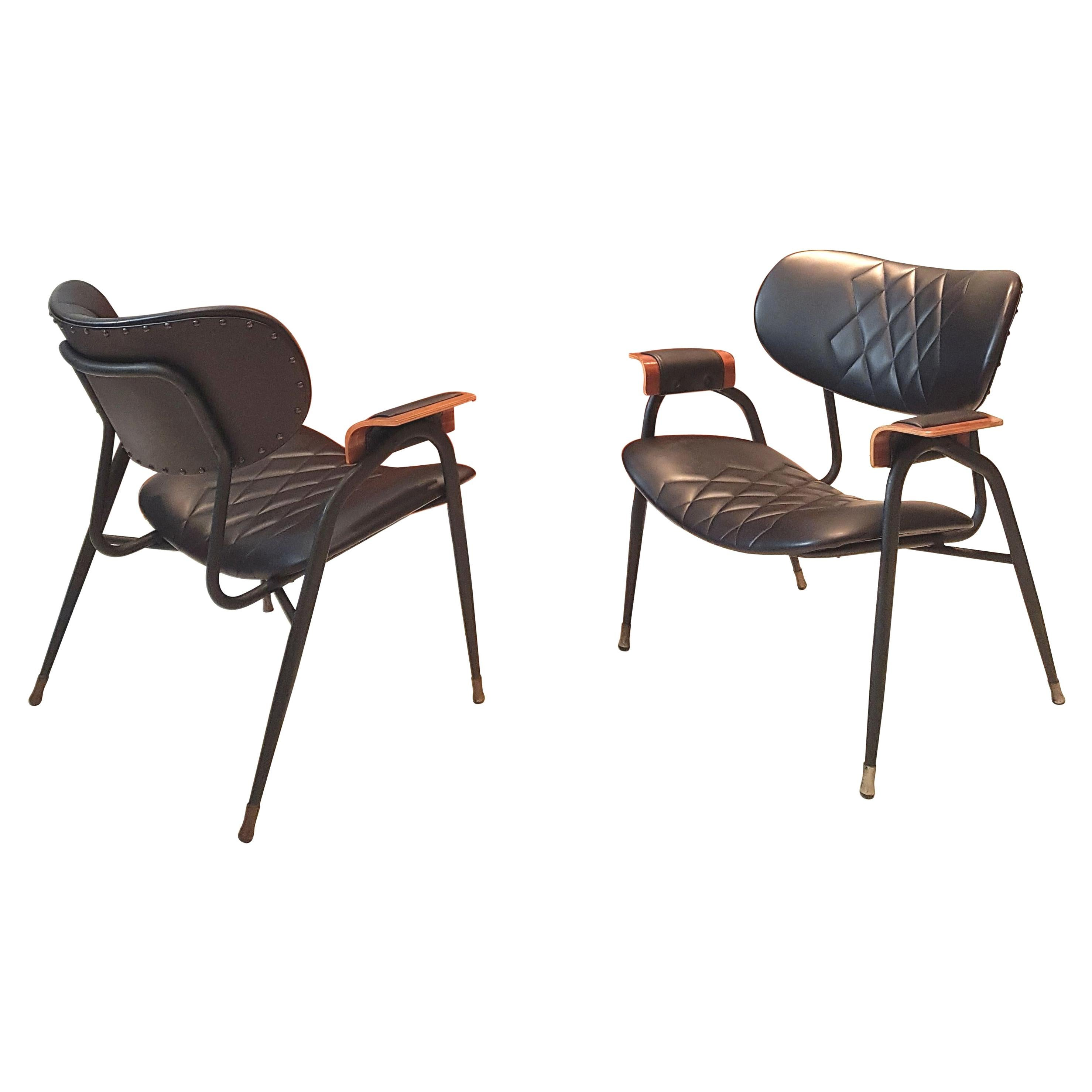 Mid-Century Modern, Italian Metal Framed Chairs by RIMA