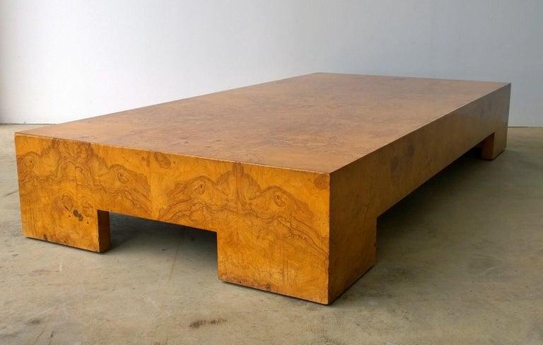 European Mid-Century Modern Italian Milo Baughman Style Burl Veneer Coffee or Low Table For Sale