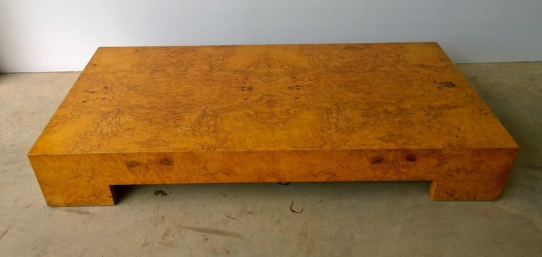 Mid-Century Modern Italian Milo Baughman Style Burl Veneer Coffee or Low Table In Good Condition For Sale In Houston, TX