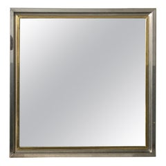 Mid-Century Modern Italian Mirror with Chrome and Brass Frame, 1970s