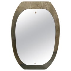 Mid-Century Modern Italian Mirror with Green Beveled Murano Glass Frame, 1970s