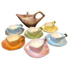 Mid-Century Modern Italian Multicolored Ceramic Tea Set, circa 1950