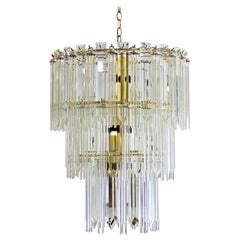 Mid-Century Modern Italian Murano Glass and Brass Tiered Chandelier, 1970s
