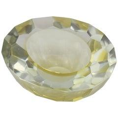 Mid-Century Modern Italian Murano Glass Round yellow and Clear Ashtray, 1970s