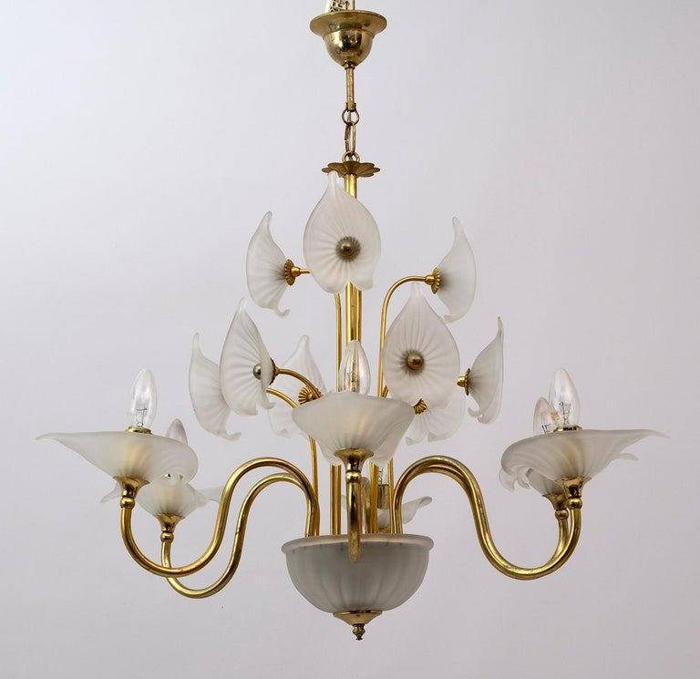 Murano Lattimo glass and brass six light chandelier, the chandelier will come with reducers for USA E12 bulbs.