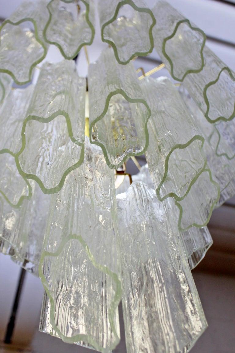 Late 20th Century Mid-Century Modern Italian Murano Tronchi Slant Cut Glass Brass Chandelier 1970s For Sale