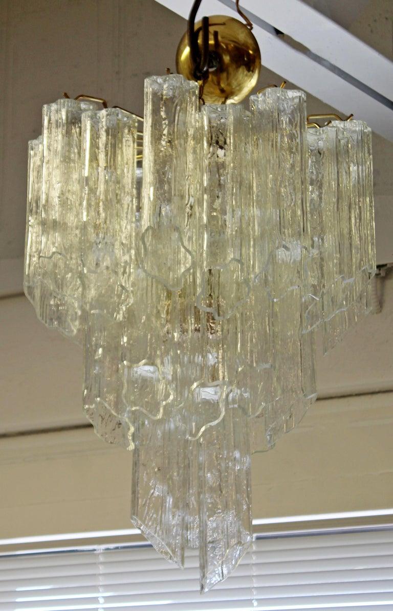 Mid-Century Modern Italian Murano Tronchi Slant Cut Glass Brass Chandelier 1970s For Sale 1