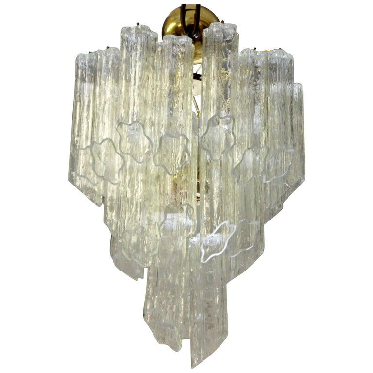 Mid-Century Modern Italian Murano Tronchi Slant Cut Glass Brass Chandelier 1970s For Sale