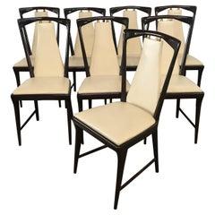 Mid-Century Modern Italian O. Borsani Set of 8 Mahogany and Faux Leather Chairs