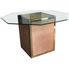 Mid-Century Modern Italian Octagonal Glass Top Dining Table with Straw and Brass