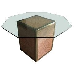 Mid-Century Modern Italian Octagonal Top Glass Table with Vienna Straw Base