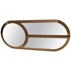Mid-Century Modern Italian Oval Shaped Wall Mirror. 1970s