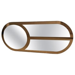 Mid-Century Modern Italian Oval Shaped Wall Mirror with Gold Colored Edge, 1970s