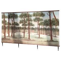 "Mid-Century Modern Italian Painted ""Pine Glove"" Gloss Covered Wardrobe, 1960s"