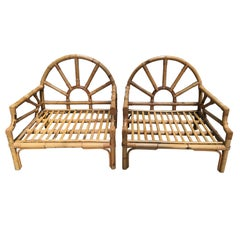 Mid-Century Modern Italian Pair of Bamboo and Rattan Armchairs by Vivai del Sud