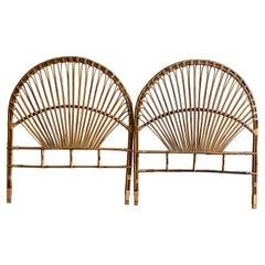 Mid-Century Modern Italian Pair of Bamboo and Rattan Peacock Headboards, 1960s