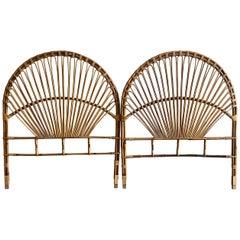 Mid-Century Modern Italian Pair of Bamboo and Wicker Peacock Headboards, 1960s