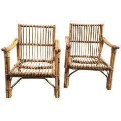 Mid-Century Modern Italian Pair of Bamboo Armchairs, 1960s