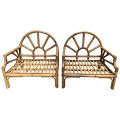 Mid-Century Modern Italian Pair of Bamboo Armchairs. 1970s