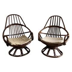 Mid-Century Modern Italian Pair of Bamboo Armchairs, 1970s