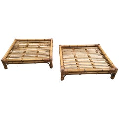 Mid-Century Modern Italian Pair of Bamboo Coffee or Sofa Tables, 1970s