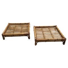 Mid-Century Modern Italian Pair of Bamboo Coffee or Sofa Tables, 1970s