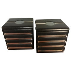 Mid-Century Modern Italian Pair of Black Leather Office Drawers