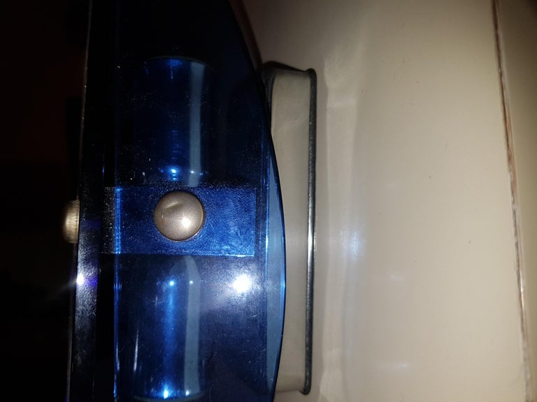 Mid-20th Century Mid Century Modern, Italian Pair of Blue Glass Wall Lights by Veca For Sale