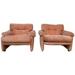 Mid-Century Modern Italian Pair of Coronado Armchairs by T Scarpa for B&B Italia